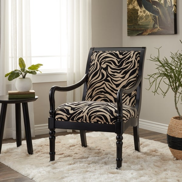 Shop Turned Leg Zebra Print Arm Chair Free Shipping
