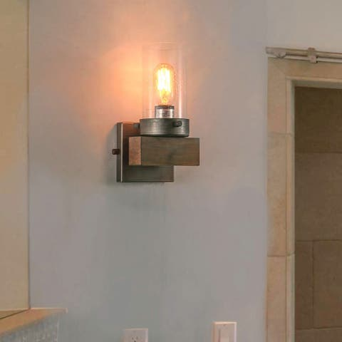 Makkovik 1-light Aged Silver Wood Indoor Wall Sconce by Havenside Home