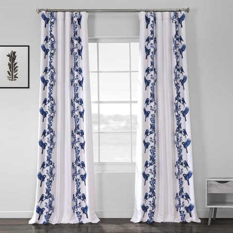 Porch & Den Frenwood Blue Printed Linen Textured Blackout Curtain