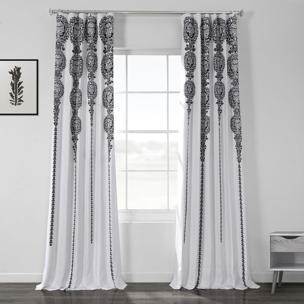 Exclusive Fabrics Cyprus Printed Linen Textured Blackout Curtain. Opens flyout.