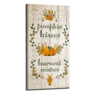 'Pumpkin Kisses' Wrapped Canvas Harvest Wall Art