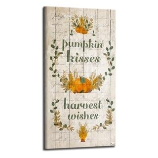 'Pumpkin Kisses' Wrapped Canvas Harvest Wall Art