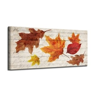 'Fall Leaves' Wrapped Canvas Harvest Wall Art
