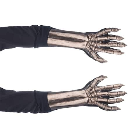 Zagone Studios Dress Up Costume Adult Skeleton Gloves (one size) - Great for Theater, Cosplay, Halloween or Renn Fairs.