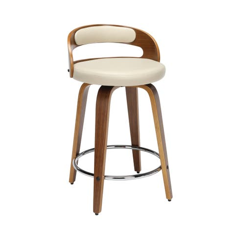OFM 161 Collection Mid Century Modern Low Back Bentwood Frame Swivel Seat Stool with Vinyl Back and Seat Cushion