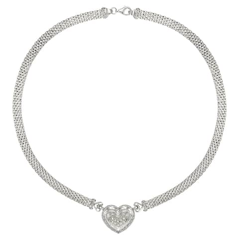 Forever Last Sterling Silver CZ Heart Necklace