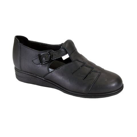 24 HOUR COMFORT Mara Wide Width Casual T-Strap Leather Shoes