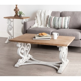 Kate and Laurel Wyldwood Rustic Carved Wood Coffee Table - 38x23x18