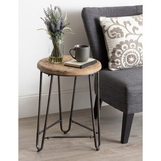 Kate and Laurel  Westbury Carved Wood and Metal Side Table - 15.5x15.5x22