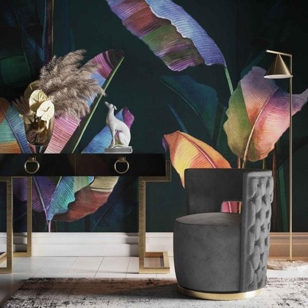Silver Orchid Manucharyan Grey Velvet Swivel Chair. Opens flyout.