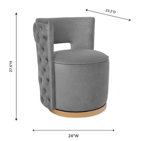 Silver Orchid Manucharyan Grey Velvet Swivel Chair