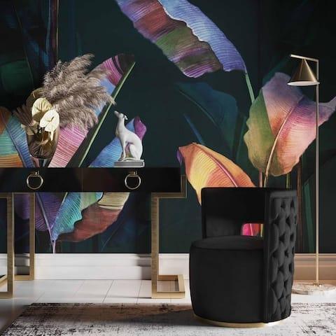 Silver Orchid Hopson Black Velvet Swivel Chair