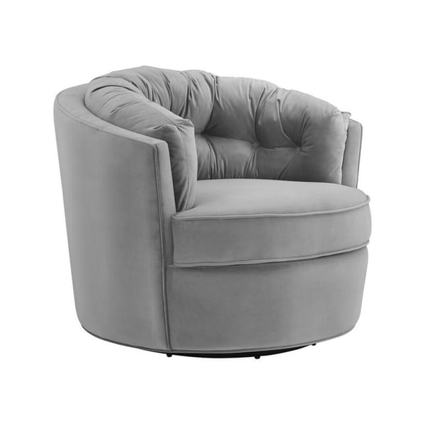Shop Eloise Grey Velvet Swivel Chair Free Shipping Today