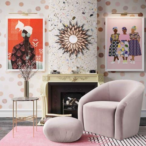 Boboli Mauve Velvet Chair and Ottoman Set
