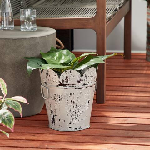 "Studio 350 Farmhouse Style Distressed White Metal Scalloped Bucket Planter with Handles, 11"" x 12"""