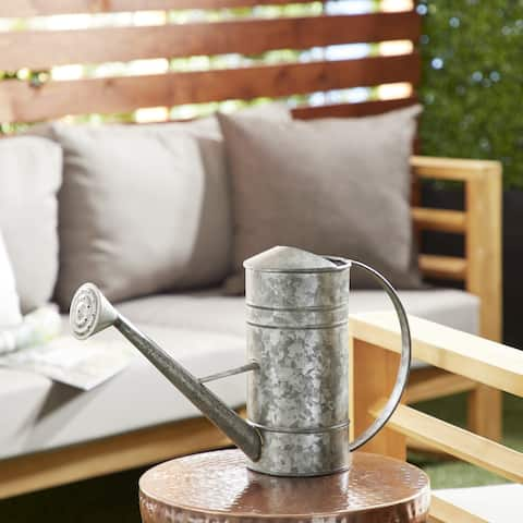 """Studio 350 Farmhouse Style Large Galvanized Silver Metal Watering Can, 18"""" x 11"""""""