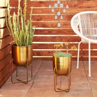 Havenside Home Sebasco 2-piece Round Indoor/Outdoor Metallic Gold Metal Planters Set