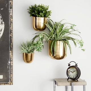 "Studio 350 Contemporary Style Large Round Indoor/Outdoor Metallic Gold Metal Wall Planters, Set of 3: 9"", 7"", 5.5"""