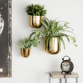 """Studio 350 Contemporary Style Large Round Indoor/Outdoor Metallic Gold Metal Wall Planters, Set of 3: 9"""", 7"""", 5.5"""""""