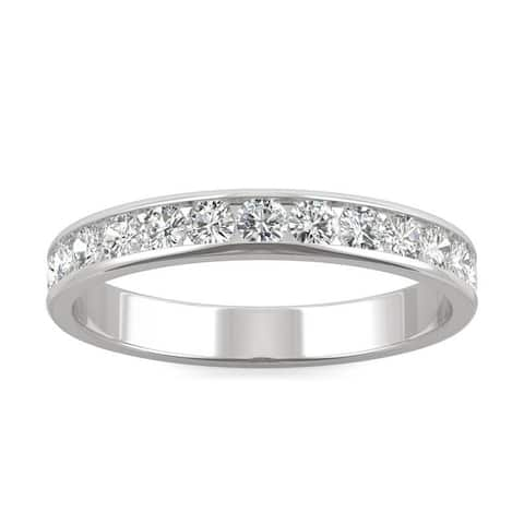 Moissanite by Charles & Colvard 14k White Gold Channel Set Stackable Ring 0.64 TGW