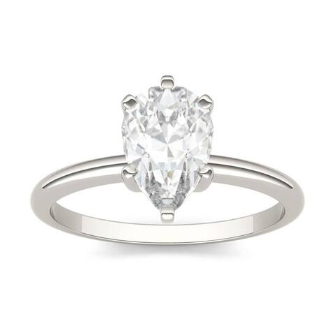 Moissanite by Charles & Colvard 14k White Gold Pear Solitaire Ring 1.50 TGW