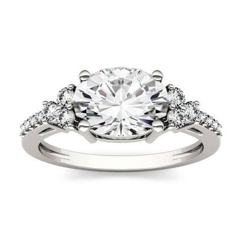 Moissanite by Charles & Colvard 14k White Gold Oval Engagement Ring 2.30 TGW