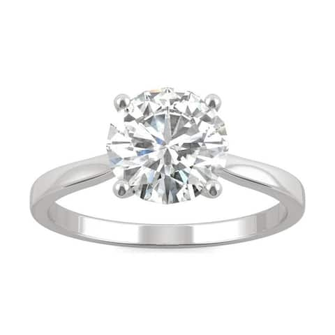 Moissanite by Charles & Colvard 14k White Gold Solitaire Engagement Ring 1.90 TGW