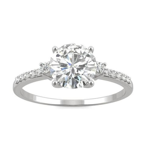 Moissanite by Charles & Colvard 14k White Gold Round Engagement Ring 1.31 TGW