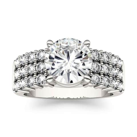 Moissanite by Charles & Colvard 14k White Gold Three Row Engagement Ring 2.92 TGW