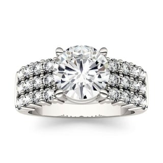 Moissanite By Charles Colvard 14k White Gold Three Row Engagement Ring 2 92 TGW