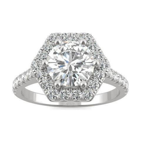 Moissanite by Charles & Colvard 14k White Gold Round Halo Ring 2.06 TGW
