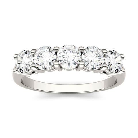 Moissanite by Charles & Colvard 14k White Gold Five Stone Band 1.15 TGW