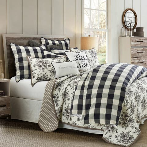 HiEnd Accents Camille Comforter Set, Super King, Black, White, 3PC