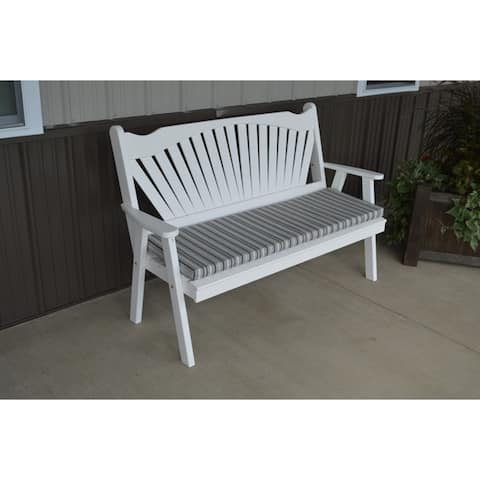 5 Foot Pine Outdoor Fanback Style Garden Bench