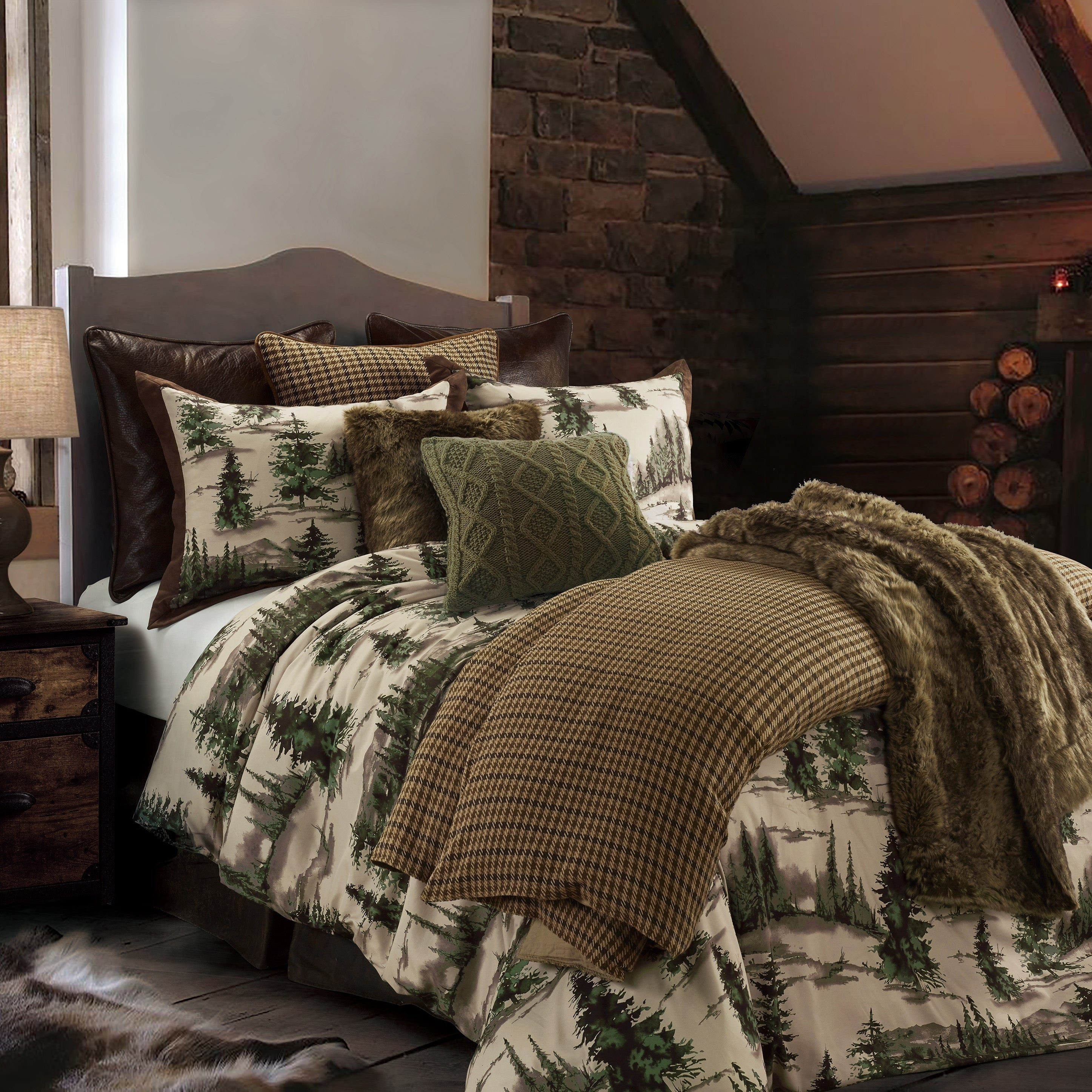 Shop Hiend Accents Joshua Comforter Set Super King Brown Green