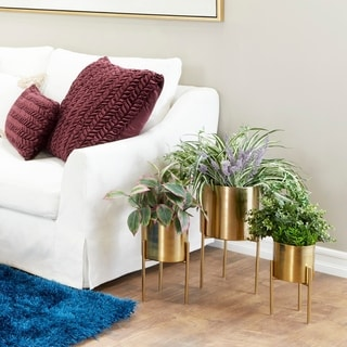 "Studio 350 Contemporary Indoor/Outdoor Metallic Gold Metal Planters in Gold Stands, Set of 3: 10"" x 18"", 8"" x 14"", 6.5"" x 12"""