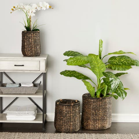 Studio 350 Round Handwoven Black and Beige Seagrass Basket Planters, Set of 3