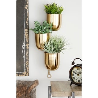 Link to Cherro Metallic Goldtone Hanging Wall Planter Rack by Havenside Home Similar Items in Planters, Hangers & Stands