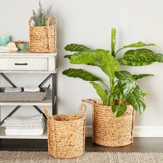 Studio 350 Round Natural Seagrass Wicker Basket Planters with Handles, Set of 3
