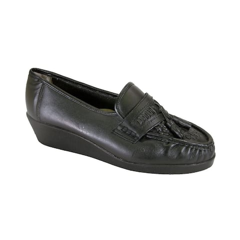 24 HOUR COMFORT Brenda Women Extra Wide Width Woven Leather Shoes