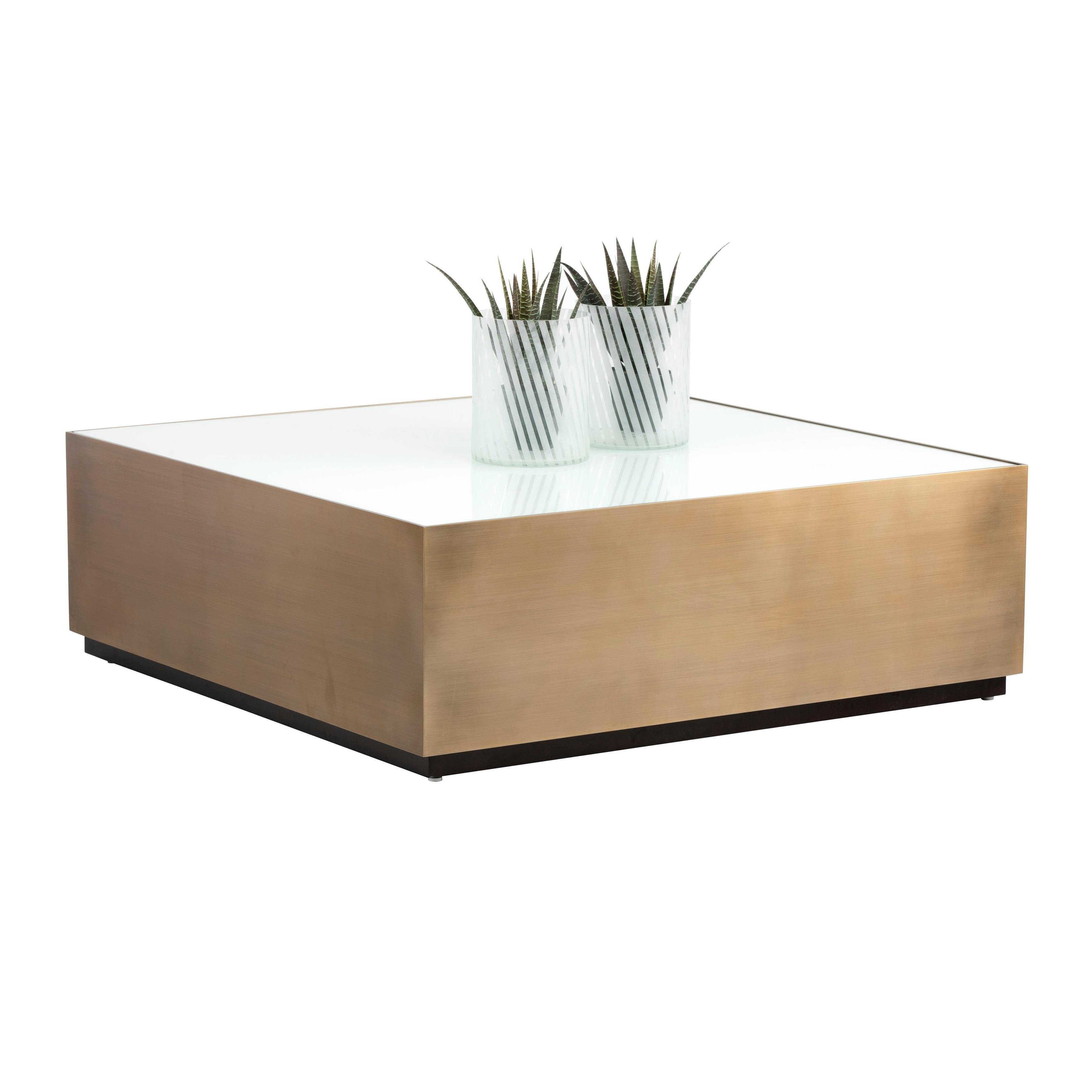 - Shop Sunpan 102669 Hudson Coffee Table - Square - White Glass - On