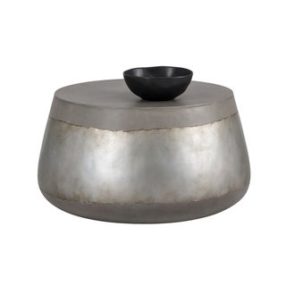 Sunpan Solterra 103308 Aries Coffee Table - Concrete - Silver