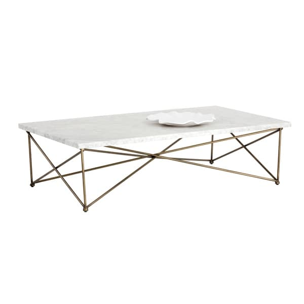 Sunpan 102387 Skyy Coffee Table - Rectangular - Antique Brass - White Marble