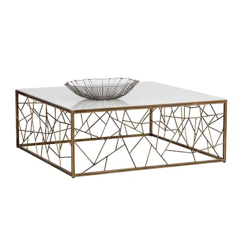Sunpan Irongate 102673 Vero Coffee Table - Rustic Bronze - White Marble