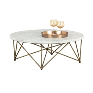 Sunpan 103515 Skyy Coffee Table - Round - Antique Brass - White Marble