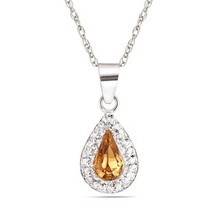 Forever Last Sterling Silver Tear Drop Pendant On Necklace Yellow