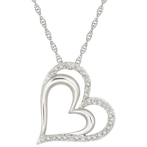 """Forever Last Sterling Silver """" Double Heart """" Pendant on Necklace"""