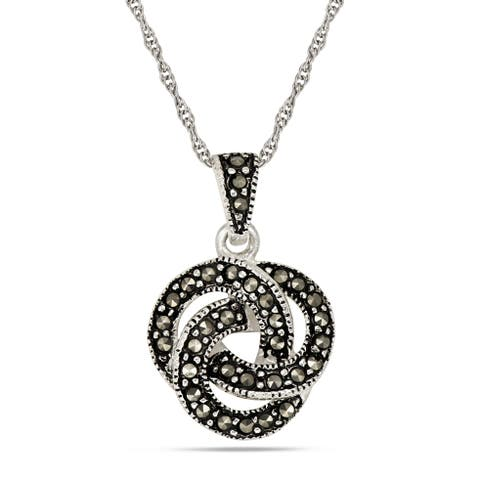 Forever Last Sterling Silver Love Knot Pendant on Necklace
