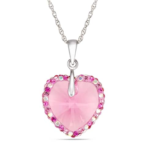 Forever Last Sterling Silver heart Pendant on Necklace - Pink