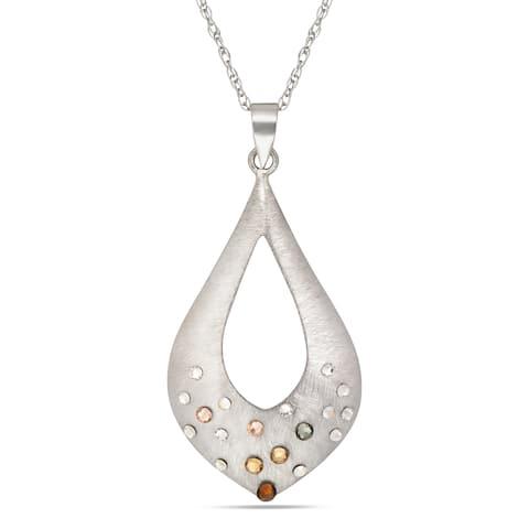 Forever Last Sterling Silver Brushed Pendant on Necklace